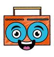 music player kawaii character vector image