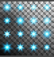 set of burst light flash glow with flare effect vector image