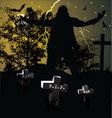 Spooky graveyard halloween background vector image