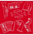 Doodle of music set on red backgrounds vector image