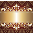 Gold jewelry frame and pearls vector image
