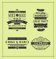 Retro wedding stamps vector image