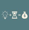 bulb time  money concept profit vector image