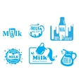Blue and white Milk labels vector image vector image