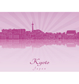 Kyoto skyline in purple radiant orchid vector image