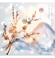 Sakura branches and Fujiyama mountain vector image
