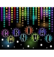Carnival black billboard with rainbow confetti and vector image