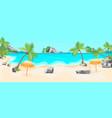 cartoon tropical beach summer landscape background vector image
