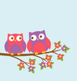 couple of cute owls on blooming branch vector image