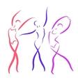 Sketched dancing girls set vector image