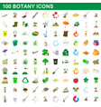 100 botany icons set cartoon style vector image