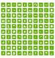 100 landscape icons set grunge green vector image