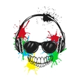 abstract smiling character listening a music vector image