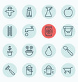set of 16 farm icons includes stairway vector image