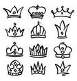 Hand drawn princess crowns sketch doodle vector image