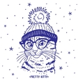 cat in hat vector image vector image