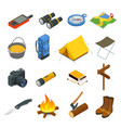 hiking icons set camping equipment vector image