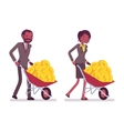 Set of office workers pushing a wheelbarrow with vector image