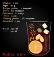 Recipe mulled wine Christmas spices orange vector image