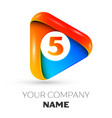 number five symbol in the colorful triangle vector image