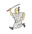 Japanese Samurai Warrior With Sword vector image vector image