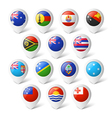Map pointers with flags Oceania vector image vector image