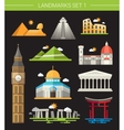 Set of flat design famous world landmarks icons vector image
