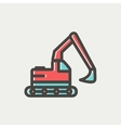 Hydraulic excavator truck thin line icon vector image