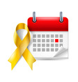 Gold awareness ribbon and calendar vector image