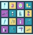 Beauty salon flat icons set vector image
