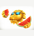 fun summer sun with watermelon 3d icon vector image