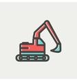 Hydraulic excavator truck thin line icon vector image