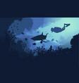 marine underwater flora and fauna background vector image