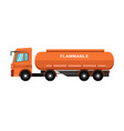 orange fuel truck vector image
