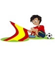 Sad football fan Spanish flag dropped vector image
