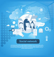 social network communication web banner with copy vector image