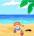 boy on a beach vector image