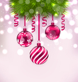 Christmas fir branches and glass balls copy space vector image