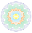 Colored Circular Guilloche pattern rosette vector image