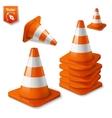 Realistic - set of orange road cones with vector image