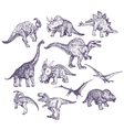 Dinosaurs drawings set vector image