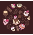 Set of cute cake vector image