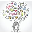 Doodle social media dreams and thoughts vector image