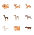 Pet dog icons set cartoon style vector image