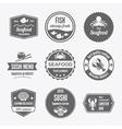 Seafood label set black vector image