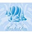 Vintage ornament fish on blue background vector image