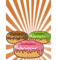 donuts on Sunburst background vector image vector image