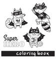 Hand drawn outline cartoon animals in superheroes vector image