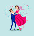 jump marriage of happy couple isolated on heart vector image