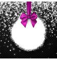 Round christmas background with lilac bow vector image